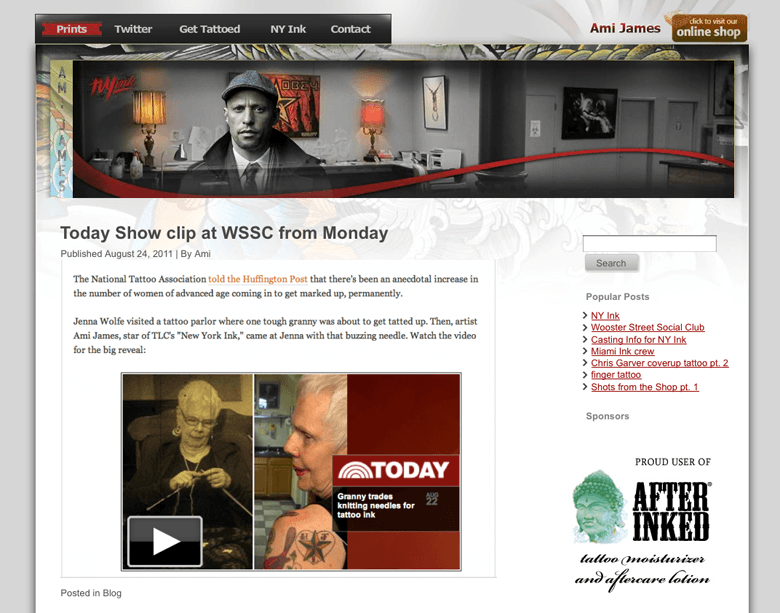 Ami James blog design