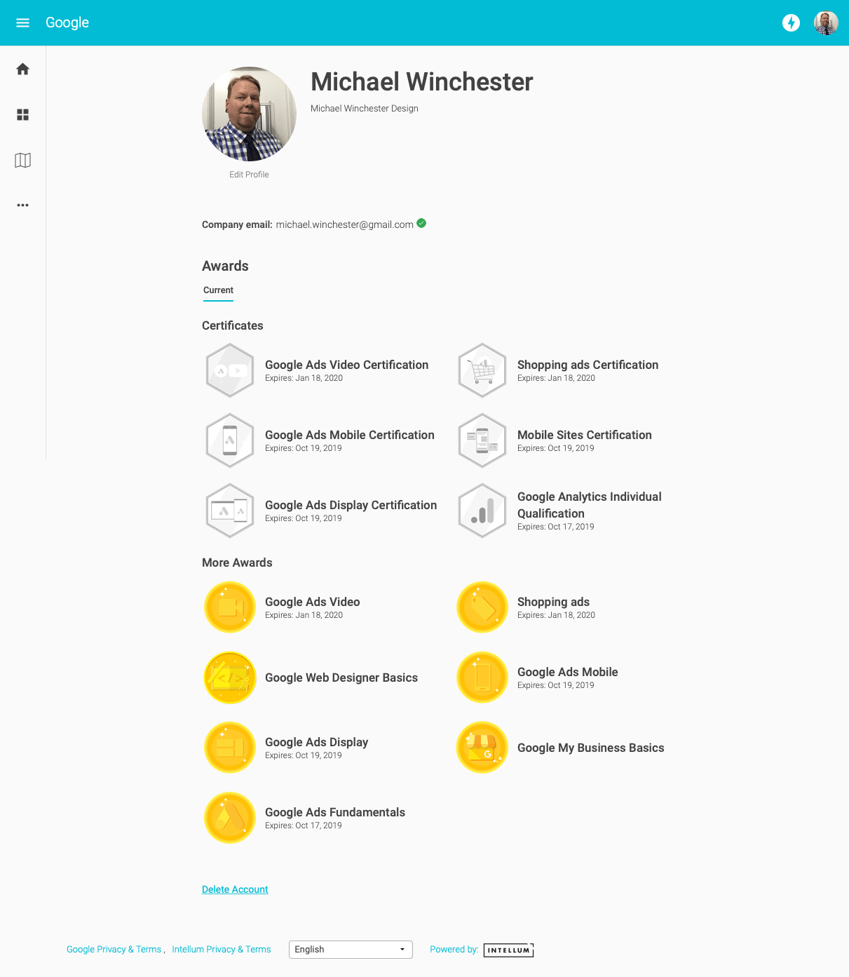 Winchester Google Certifications